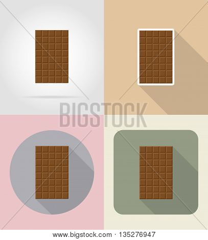 chocolate bar food and objects flat icons vector illustration isolated on background