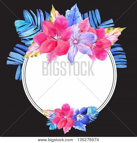 Beautiful watercolor illustration with tropical flowers and plants on black background. Composition with palm and begonia leaves, lily, clematis. Round frame.