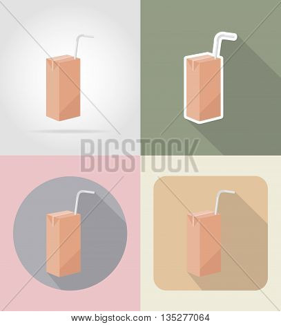 juice packaging drink and objects flat icons vector illustration isolated on background