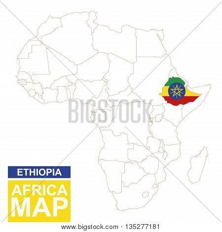 Africa Contoured Map With Highlighted Ethiopia.