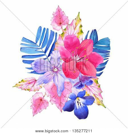 Beautiful watercolor illustration with tropical flowers and plants on white background. Composition with palm and begonia leaves, lily, clematis.