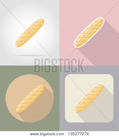 bread loaf food and objects flat icons vector illustration isolated on background