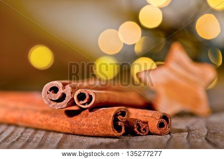 Christmas background with cinnamon and christmas star