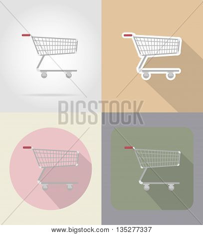 trolley of products in supermarket food and objects flat icons vector illustration isolated on background
