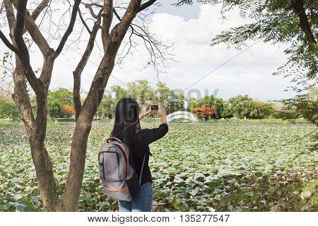 Back Or Rare View Of Girl Or Women Shooting Photo Or Video Via Smartphone Beside The Pond, Girl Or W