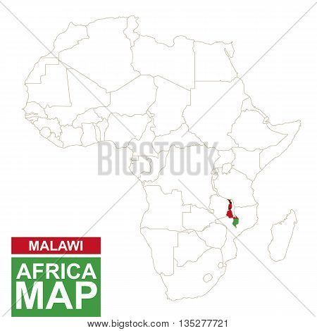 Africa Contoured Map With Highlighted Malawi.