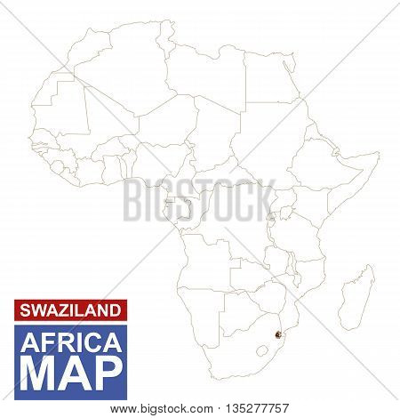Africa Contoured Map With Highlighted Swaziland.