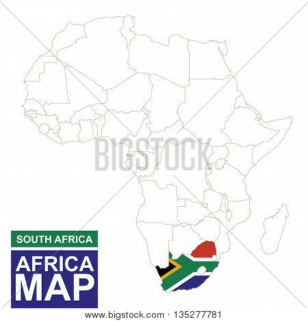 Africa Contoured Map With Highlighted South Africa.