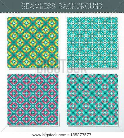 Four beautiful summer seamless ornament. Mandala. Vintage decorative elements. Islam Indian. Ceramic tile. Set of beautiful ethnic oriental ornaments. Abstract background. Kaleidoscope.