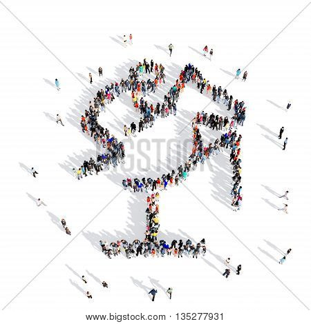 Large and creative group of people gathered together in human shape , equestrian, competition, sport. 3D illustration, isolated against a white background.