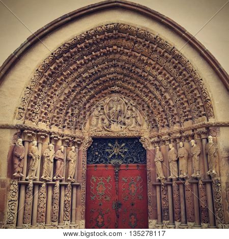 Porta Coeli. Gothic portal of the Romanesque-Gothic Basilica of the Assumption of the  Mary Czech Republic built in 1230