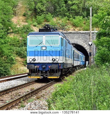 Beautiful Czech passenger train with carriages. Transport.