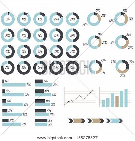 vector blue grey and brown infographics: pie charts graph charts arrows graphic of growth