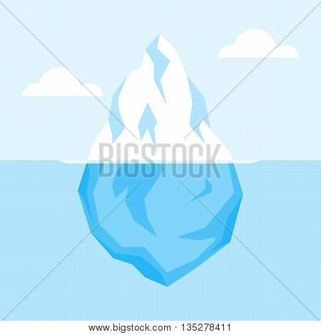 Iceberg on water. Antarctic landscape, ocean, snow and ice. Vector flat illustration.