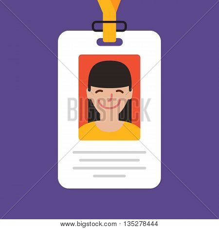Id card. Vector illustration. Flat design style