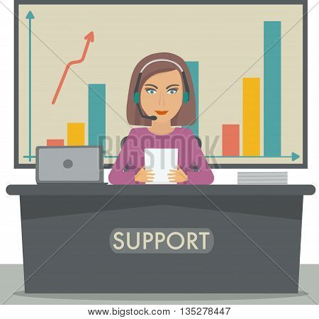 Girl working in support, call center manager, secretary at the reception, sales manager. Vector illustration.