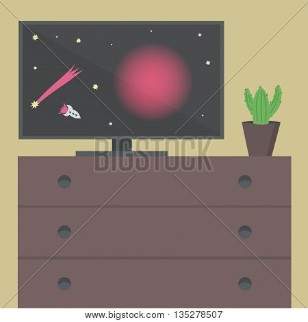 Interior with a TV and desk. Space on TV, cactus on the desk. Vector illustration.