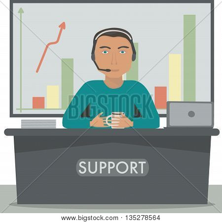 Man working in support, call center manager, secretary at the reception.Vector illustration.