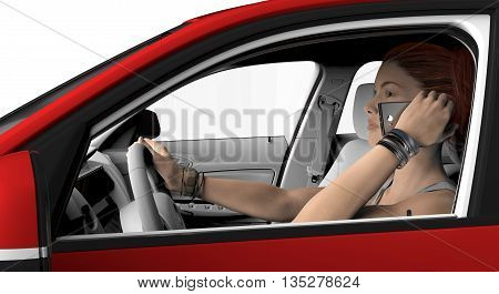 Woman With Telephone Driving In A Car