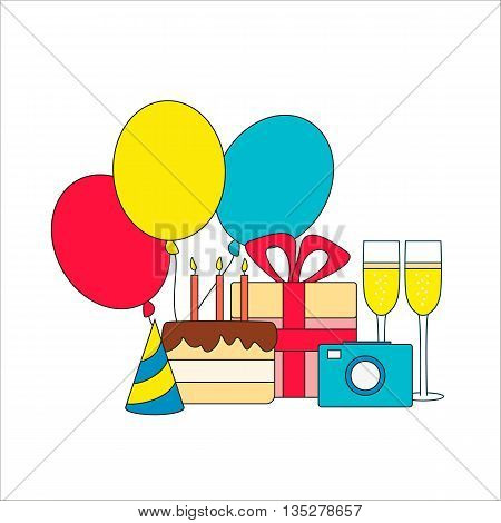 Set of birthday icons - cake gift champagne camera and three air balloons. Vector illustration.