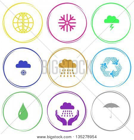 globe, snowflake, thunderstorm, snowfall, rain, recycle symbol, drop, weather in hands, umbrella. Weather set. Internet button. Vector icons.
