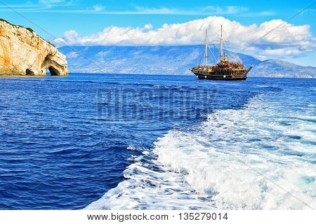 sailing boat on the water surface of sea