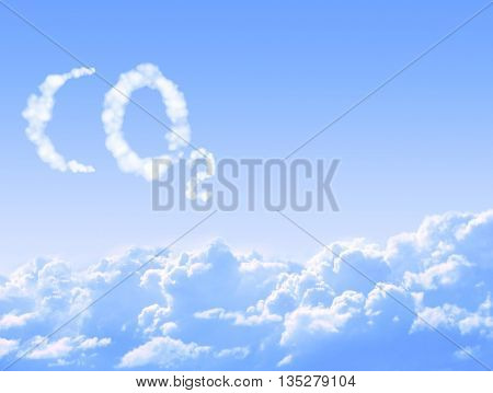 Symbol CO2 from clouds on blue sky background