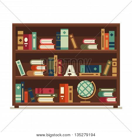Library. Vector flat illustration isolated on white background.