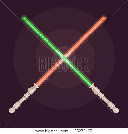 Realistic bright colorful laser beam. Light swords. Weapon futuristic. Vector illustration. Flat design style
