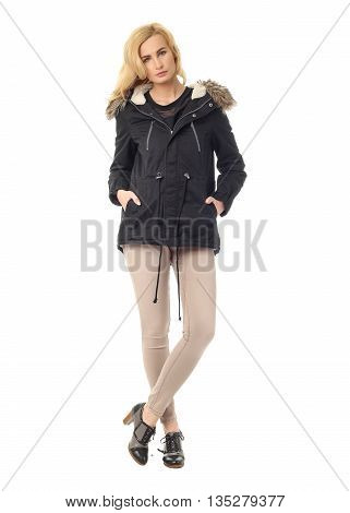 Full Length Portrait Of Young Blond Woman In Warm Clothes Posing Isolated