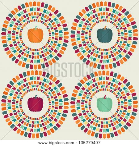 Pumpkins in a circle with party flags. Vector illustration.