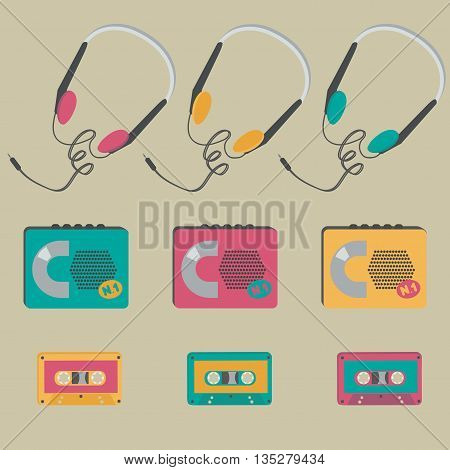 Retro audio cassette players, tapes, headphones. Vector illustration.