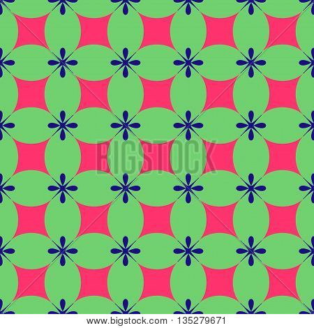 Rhombus and flower seamless pattern. Fashion graphic background design. Modern stylish abstract texture. Colorful template for prints textiles wrapping wallpaper website etc. VECTOR illustration