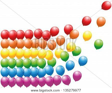 Rainbow colored balloon lines floating away - isolated vector illustration on white background.