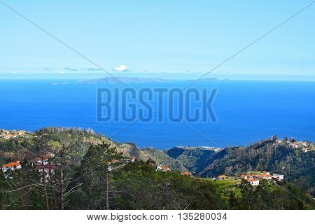 View of coastal landscape in Madeira Portugal