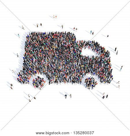 Large and creative group of people gathered together in the shape of machine images. 3D illustration, isolated, white background.