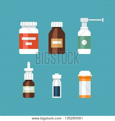 Medicine bottles collection. Bottles of drugs, tablets, capsules and sprays. Vector flat illustration