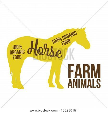 yellow contour horse farm animal with a white lettering inscription inside, Logo horse animal, outline for product, illustration contour farming horse with lettering on the mutton meat