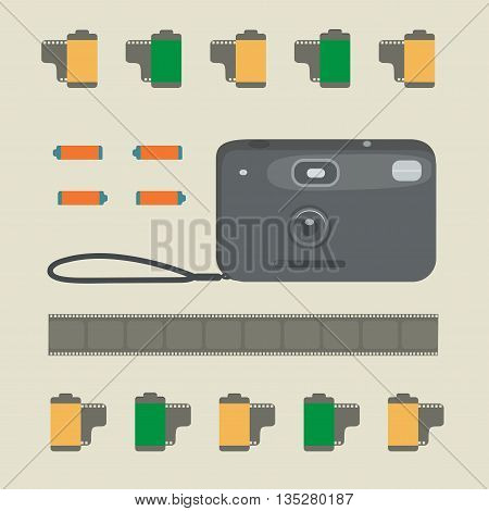 The old photo camera, photo films and batteries.