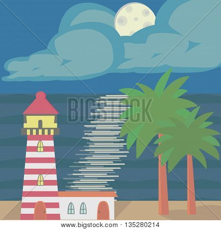 The seascape with a lighthouse, moonlight and palm trees.