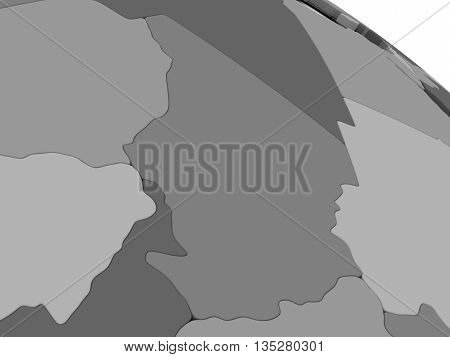 Chad On Grey 3D Map