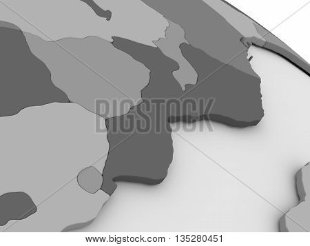 Mozambique And Zimbabwe On Grey 3D Map