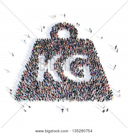 Large and creative group of people gathered together in the shape of a weight, kilogram, images. 3D illustration, isolated, white background.