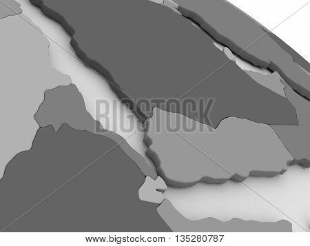 Yemen, Eritrea And Djibouti On Grey 3D Map