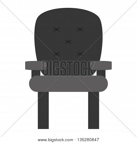 cushioned armchair vector illustration, gray icon desgn