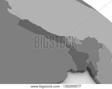 Nepal And Bhutan On Grey 3D Map