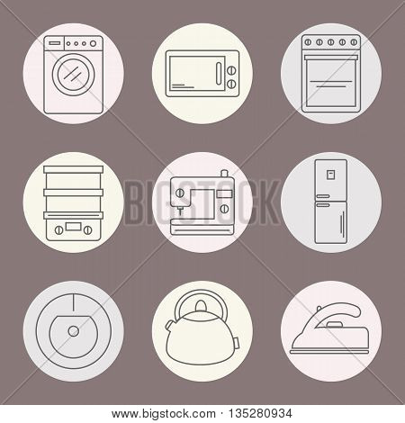 Set of icons of home appliances. Icons appliances for kitchen cleaning and sewing. Vector illustration.