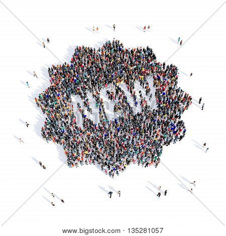 Large and creative group of people gathered together in the shape of prints, novelty image. 3D illustration, isolated, white background.
