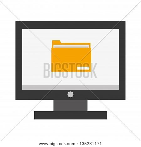 computer monitor with folder icon on screen vector illustration