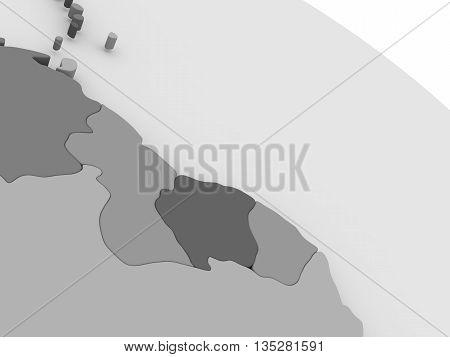 Guynea And Suriname  On Grey 3D Map